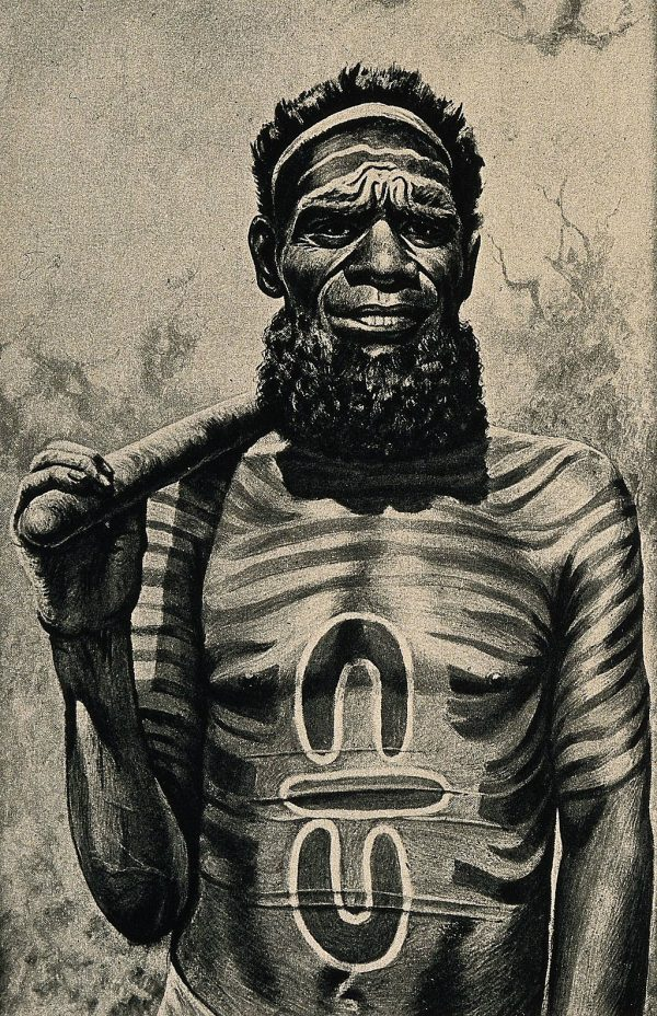 A_shaman_or_medicine_man_with_extensive_body_painting_Worga_Wellcome_V0015977EL-1-600x928